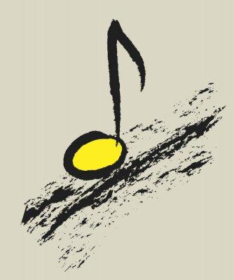 Póster Concepto de música nota musical, logotipo de diseño