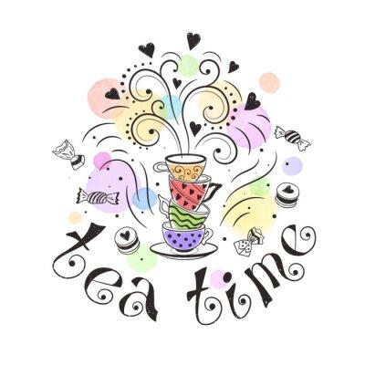 Póster Concepto del cartel del tiempo del té. Diseño de tarjeta de la fiesta del té. Ilustración dibujada mano del doodle con las teteras, las tazas y los dulces.