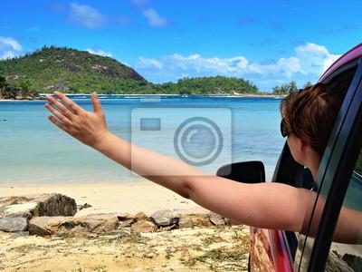 Conductor de la muchacha llegó a la orilla del mar