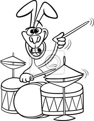 Conejito Con Libro Para Colorear Dibujos Animados Tambores
