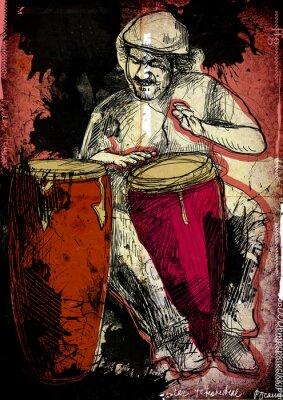 Póster conguero - una ilustración dibujados a mano