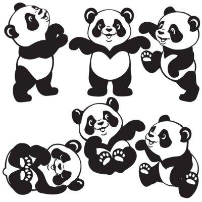 Conjunto Blanco Y Negro Con La Panda De Dibujos Animados Carteles