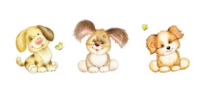 Póster Conjunto de 3 cachorros lindos
