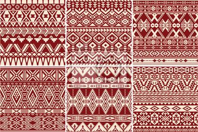 Conjunto de 6 patrones sin fisuras vector nativo americano