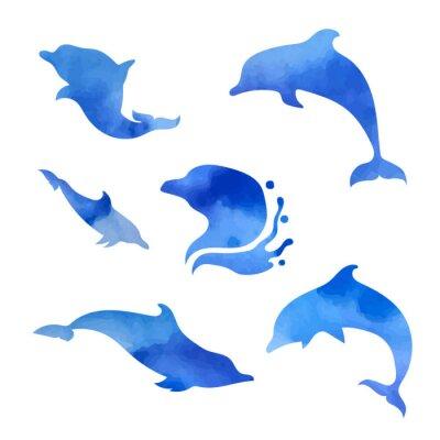 Póster Conjunto de acuarelas delfines