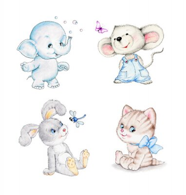 Póster Conjunto de animales: elefante, ratón, gatito, conejo
