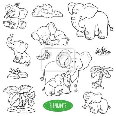 Póster Conjunto De Animales Y Objetos Lindos Vector Familia De Elefantes