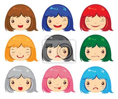Conjunto De Cara De Dibujos Animados Emociones Chica Carteles Para