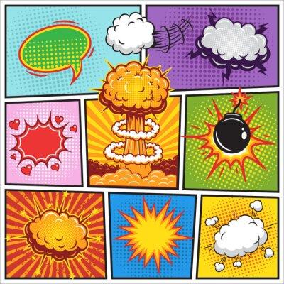 Póster Conjunto de cómics y discurso burbujas explosión 2