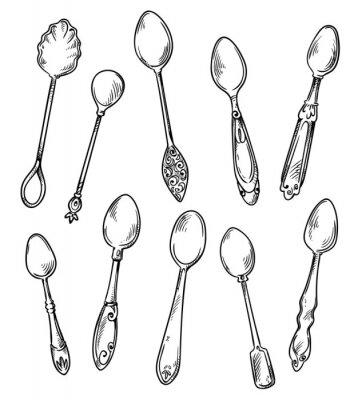 Póster Conjunto de cucharas, vector ilustración dibujada a mano