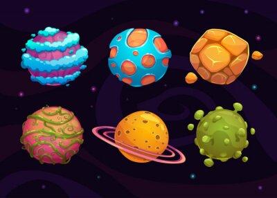 Póster Conjunto de dibujos animados de fantasía planeta