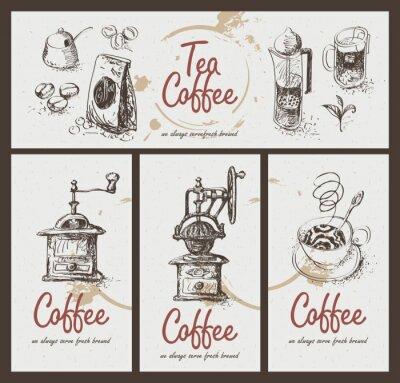 Póster conjunto de dibujos utensilios para beber té y café