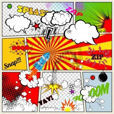 Póster Conjunto de elementos cómicos retros del libro de diseño vectorial, Discurso y pensamiento Bubbles