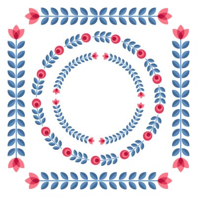 Póster Conjunto de elementos de diseño - ronda marcos florales