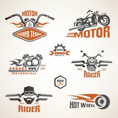 Póster Conjunto de etiquetas de motocicletas de época, escudos y elementos de diseño