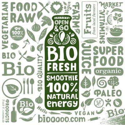 Póster Conjunto de etiquetas de orgánicos e iconos para productos alimenticios biológicos naturales