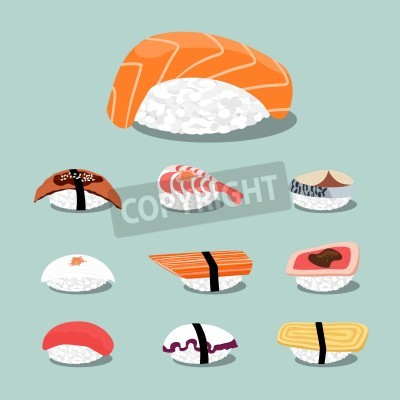 Póster Conjunto de iconos Sushi