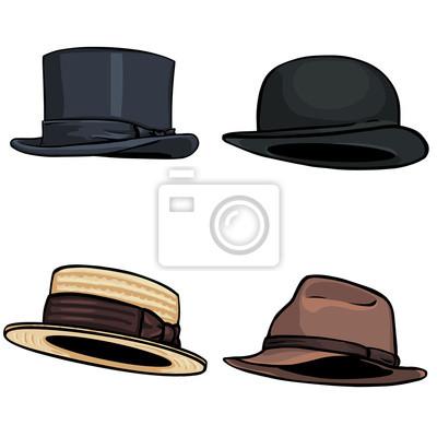 Poster Conjunto De La Historieta Del Vector De 4 Sombreros