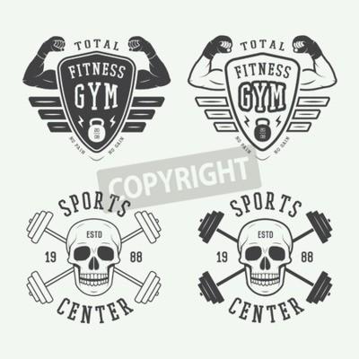 Póster Conjunto de logotipos de gimnasio, etiquetas e insignias en estilo vintage