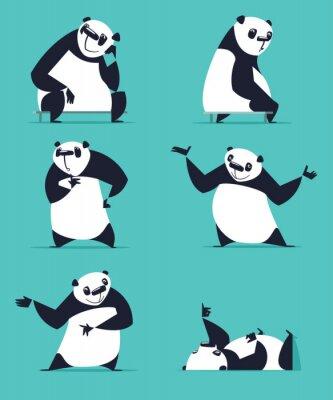 Póster Conjunto de panda en varias poses. Sentado, soñando, pensando, mostrando, acostado, invitando, girando. Cada Panda está en una capa separada.
