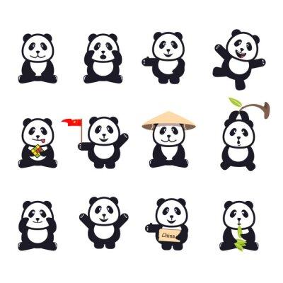 Póster Conjunto de pandas divertidos lindos de dibujos animados