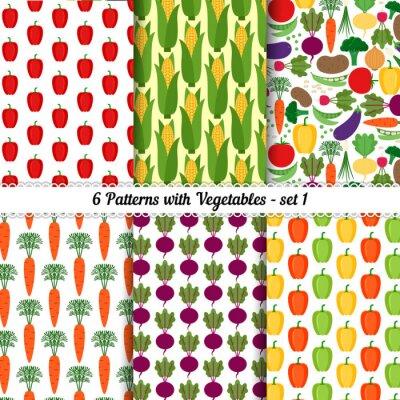 Póster Conjunto de patrones sin fisuras con diferentes hortalizas