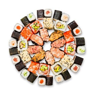 Póster Conjunto de sushi, maki y bollos aislados en blanco