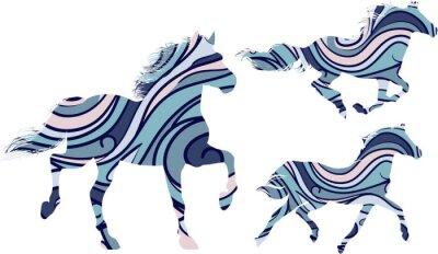 Póster Conjunto de tres siluetas de patrón azul de caballos corriendo