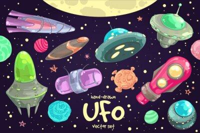 Póster Conjunto de UFO dibujado a mano