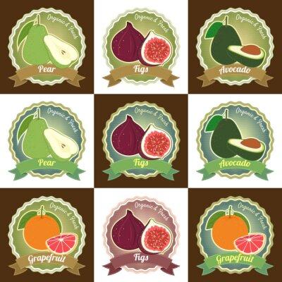 Póster Conjunto de varias etiquetas de etiqueta de etiqueta de etiqueta de calidad premium de frutas frescas