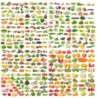 Póster Conjunto de verduras y frutas sobre fondo blanco