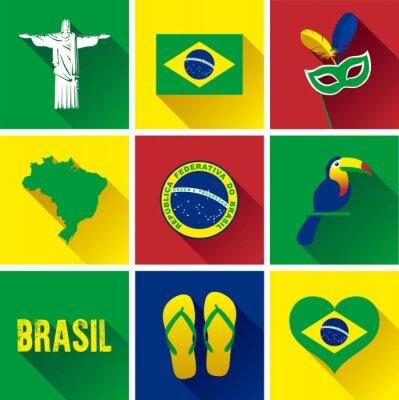 Póster Conjunto Del Icono Del Plano De Brasil. Conjunto de iconos vectoriales de gráficos planos que representan hitos y símbolos de Brasil.