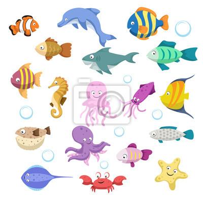 Conjunto grande de dibujos animados coloridos animales de arrecife ...