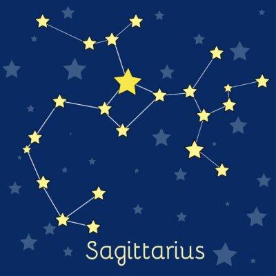 Póster Constelación del zodiaco del fuego de Sagitario con las estrellas en cosmos. Imagen vectorial