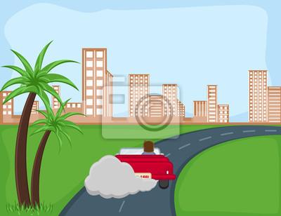 Contaminación Fondo De Dibujos Animados Vector Carteles Para La