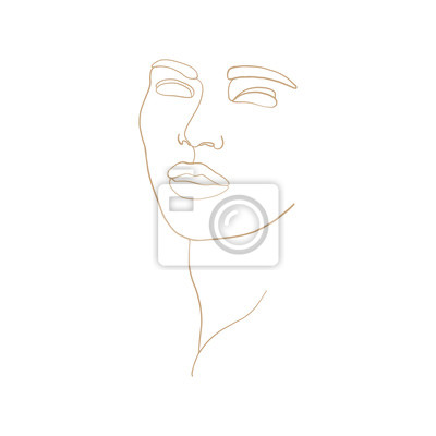 Póster Continuous line, drawing of beauty woman face, fashion concept, woman beauty minimalist, vector illustration for t-shirt, slogan design print graphics style. One line fashion illustration