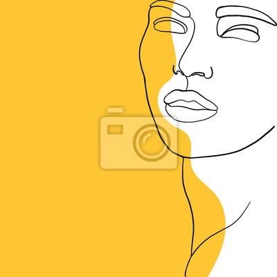 Póster Continuous line, drawing of beauty woman face, fashion concept, woman beauty minimalist, vector illustration for t-shirt slogan design print graphics style. One line fashion illustration