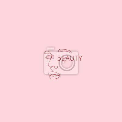 Póster Continuous line, drawing of beauty woman face, fashion concept, woman beauty minimalist, vector illustration print on beige background. One line fashion illustration with inscription beauty