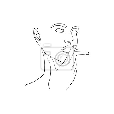 Póster Continuous line, drawing of beauty woman face with cigarette in hand. Fashion concept, woman beauty minimalist, vector illustration for graphics design. One line fashion style illustration