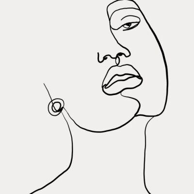 Póster Continuous line, drawing of beauty woman face with earring , fashion concept, woman beauty minimalist, vector illustration for t-shirt slogan design print graphics style. One line fashion illustration