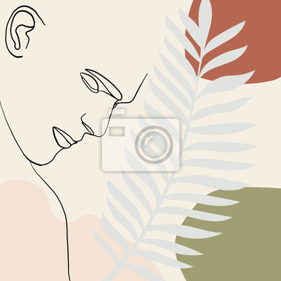 Póster Continuous line, drawing of man face, fashion concept, man beauty minimalist with geometric doodle Abstract floral elements pastel colors. One line continuous drawing. vector illustration