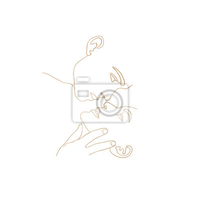 Póster Continuous line, drawing of set faces men and women in kiss, fashion concept, woman beauty minimalist, vector illustration t-shirt, slogan design print graphics style. One line fashion illustration
