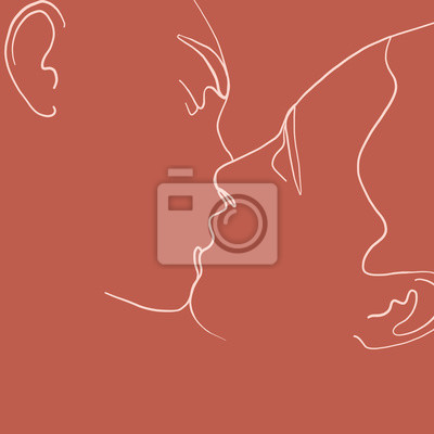 Póster Continuous line, drawing of set facesmen and women in kiss, fashion concept, woman beauty minimalist, vector illustration for t-shirt, slogan design print graphics style. One line fashion illustration