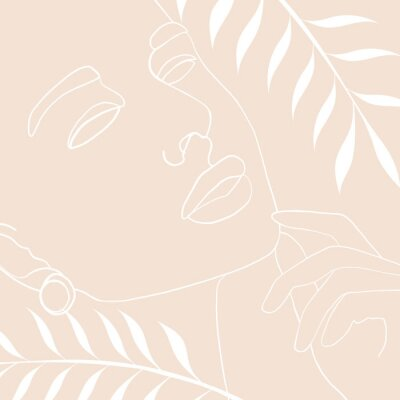 Póster Continuous line, drawing of woman face, fashion concept, woman beauty minimalist with geometric doodle Abstract floral elements pastel colors. One line continuous drawing. vector illustration
