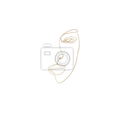 Póster Continuous line, drawing of woman face with earring , fashion concept, woman beauty minimalist, vector illustration for t-shirt, slogan design print graphics style. One line fashion illustration