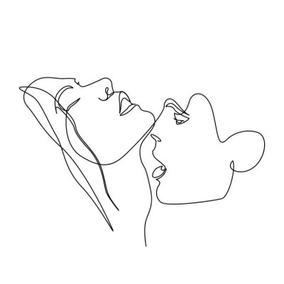 Póster Continuous one line beautiful woman and man kisses passionately