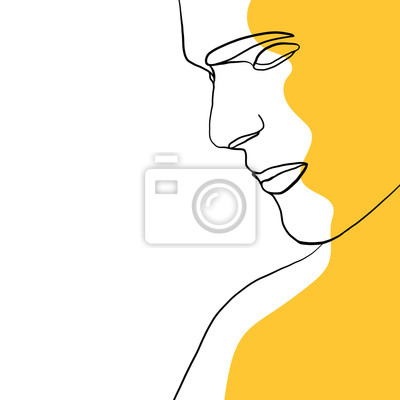 Póster Continuous one line drawing of man face portrait with yellow spot. Hairstyle. Fashionable men's style. Fashion concept, beauty minimalist, vector illustration for t-shirt, slogan design graphics style