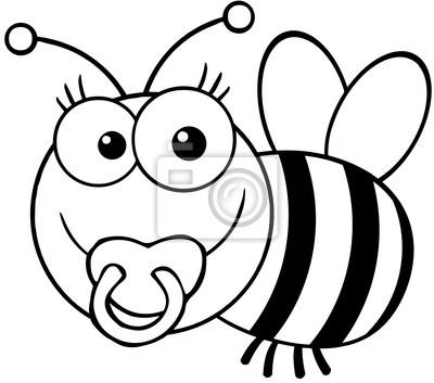 Contorno bebé de la abeja de la historieta de la mascota del ...