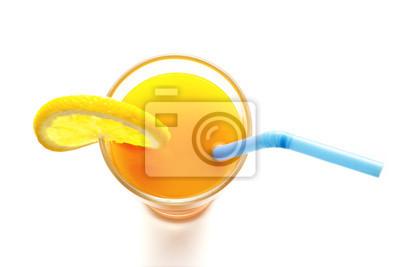 Copa de naranja jugo de vista superior sobre fondo blanco