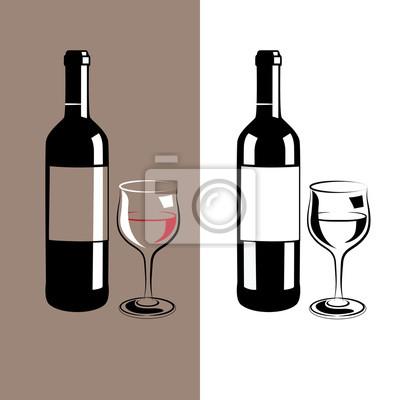 copa de vino y una botella
